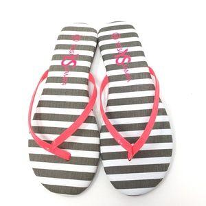 New Yosi Samra Neon Pink Stripe Flip Flops SZ:6/11